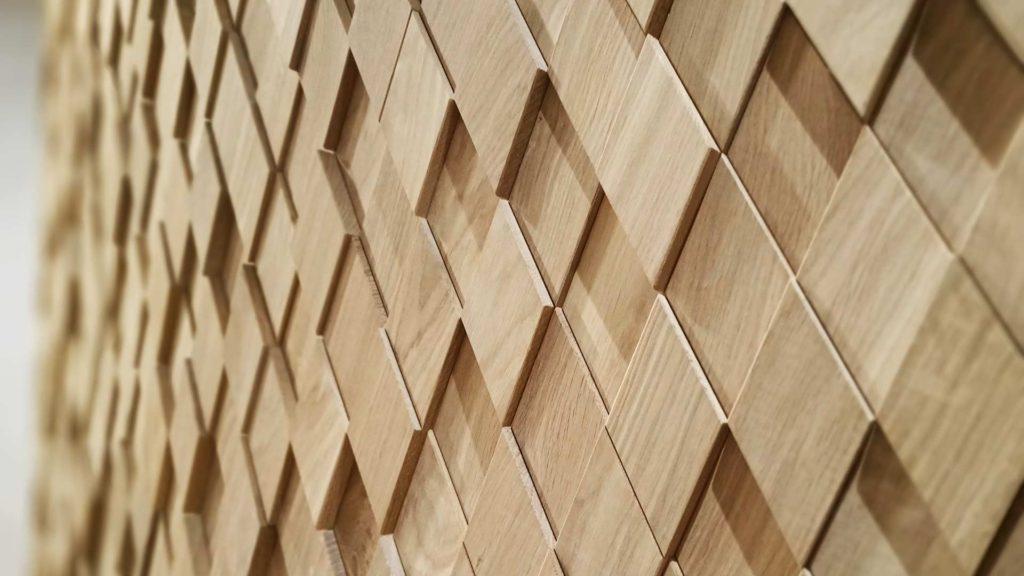 Декоративная панель RAUTE в виде ромбов из древесины дуба